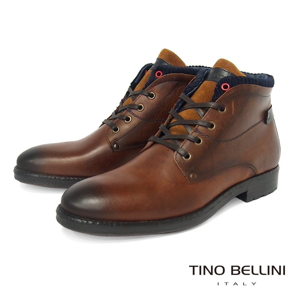 TINO BELLINI 男款葡萄牙雅痞休閒牛皮綁帶低筒靴