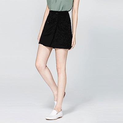 SUITANGTANG 雙排釦短裙-黑色