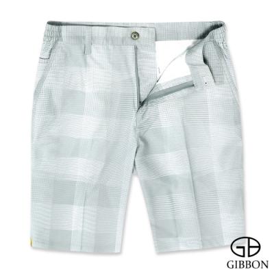 GIBBON 彈性格紋時尚休閒短褲‧灰色