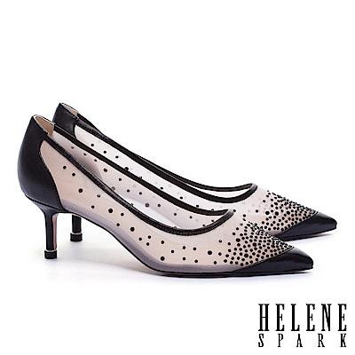 高跟鞋 HELENE SPARK 性感透膚晶鑽網紗羊皮尖頭高跟鞋-黑