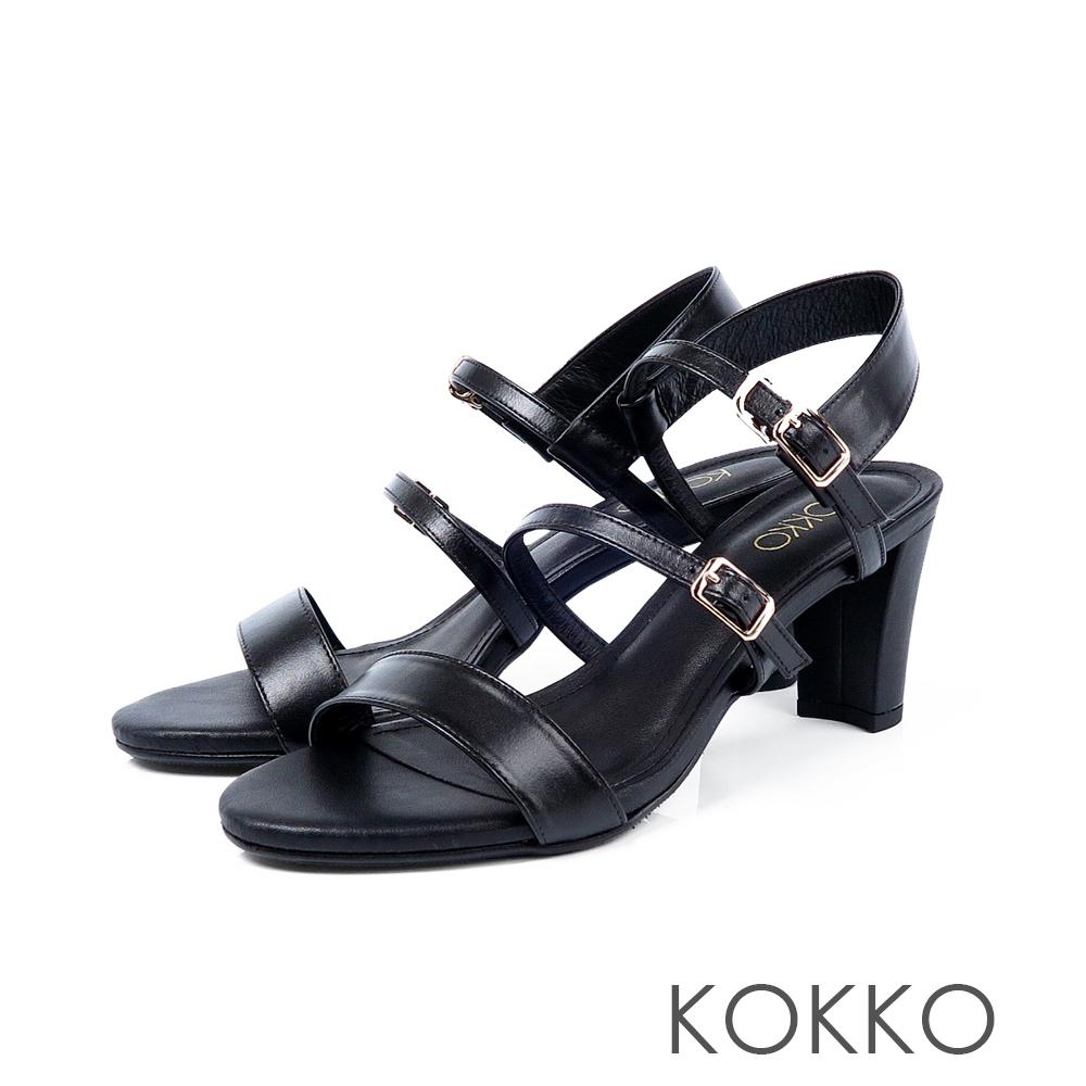KOKKO極度簡約一字細帶粗跟真皮涼鞋濃蜜黑