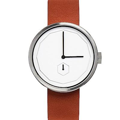 AÃRK 質感銀幾何簡約真皮革腕錶 /白38mm