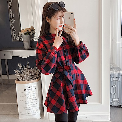 DABI 韓國學院風單排扣襯衫裙系帶格子長袖洋裝