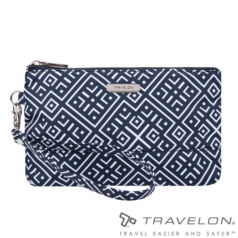 Travelon美國防盜包 RFID BLOCKING單層手拿包TL1-43403藍/白