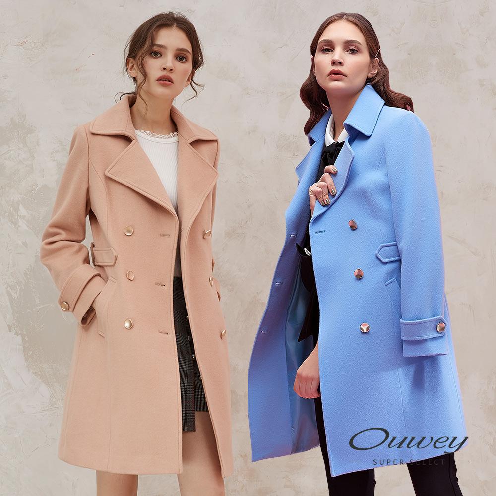 OUWEY歐薇 100%羊毛雙排扣風衣外套(可/藍) @ Y!購物