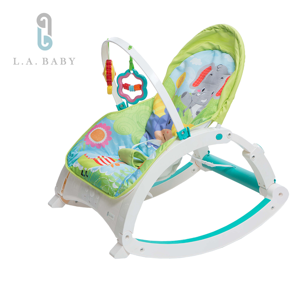 L.A. Baby   攜帶式音樂震動安撫成長搖椅(大象河馬)