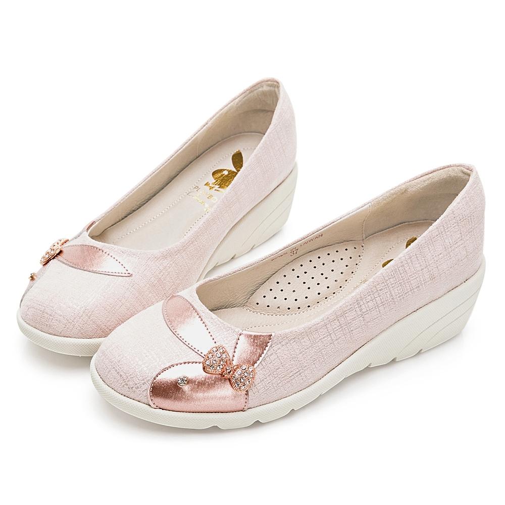 PLAYBOY 典雅氣質 亮蔥紋增高娃娃鞋-粉-Y677999