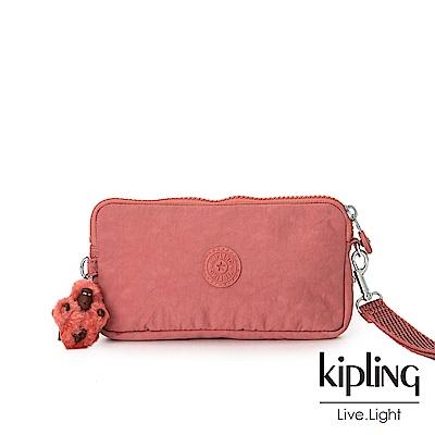 Kipling微甜薔薇粉手拿包-LOWIE