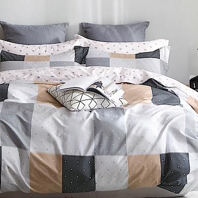 戀家小舖 / 雙人加大床包被套組 黑白畫映 100%精梳棉 活性印染