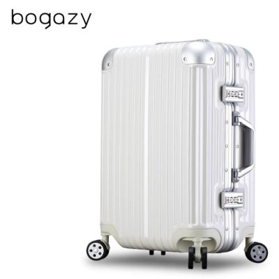 Bogazy 迷幻森林II 20吋鋁框新型力學V槽鏡面行李箱(時尚白)