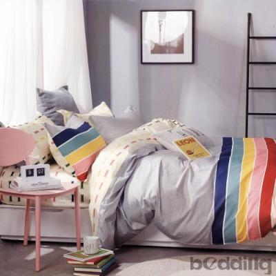 BEDDING-100%棉特大雙人6x7尺薄式床包-北海道-灰