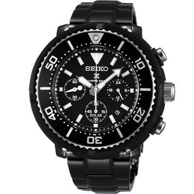 SEIKO Prospex 鮪魚罐頭太陽能計時腕錶(SBDL035J)黑/46mm