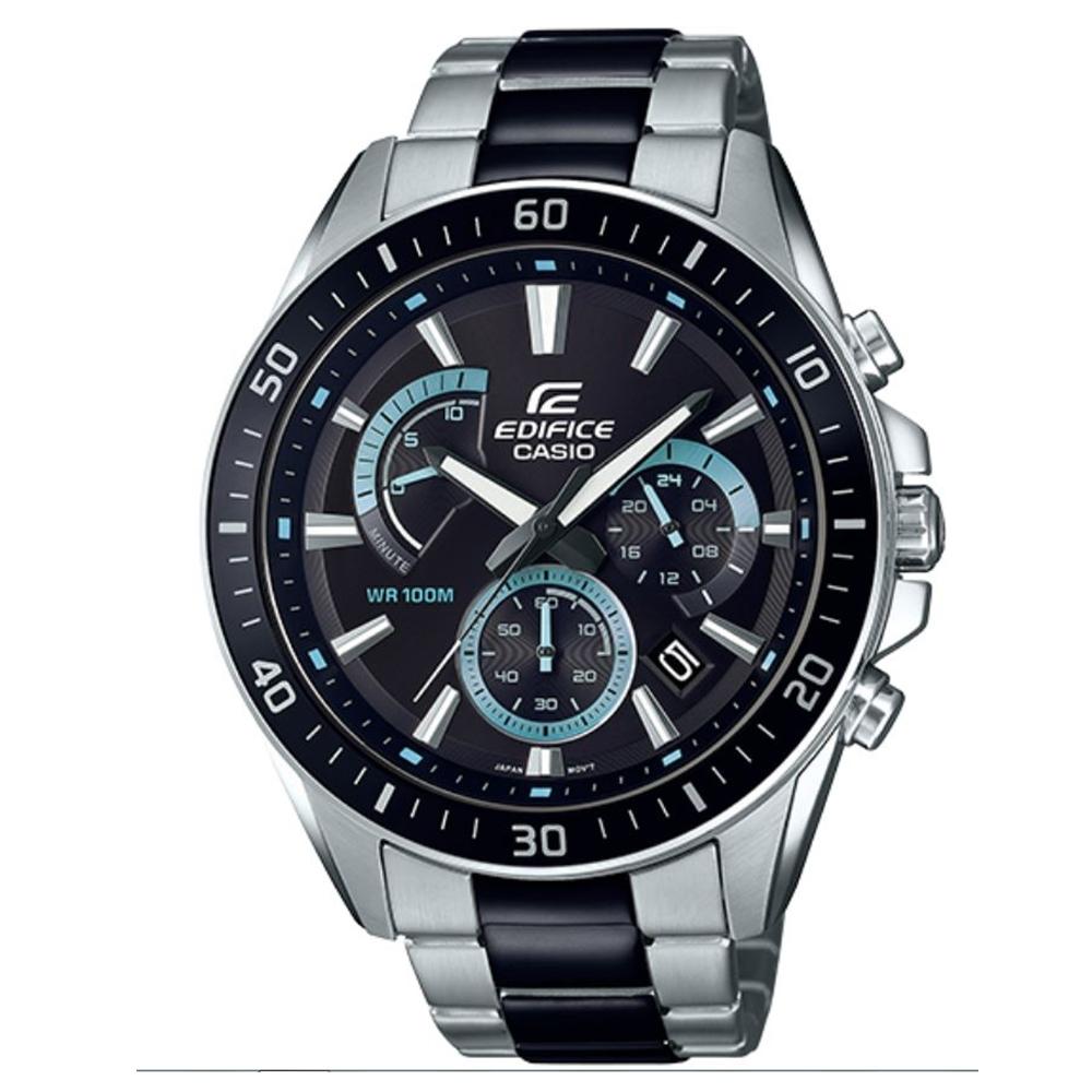 EDIFICE 銀黑雙搭賽車紋路設計風格不鏽鋼錶-(EFR-552SBK-1A)/47mm