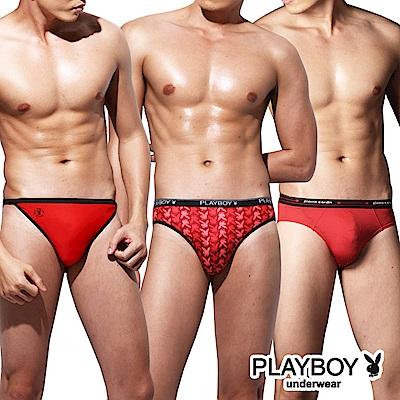 PLAYBOY 聯合品牌 聖誕派對紅色三角褲(3件組)