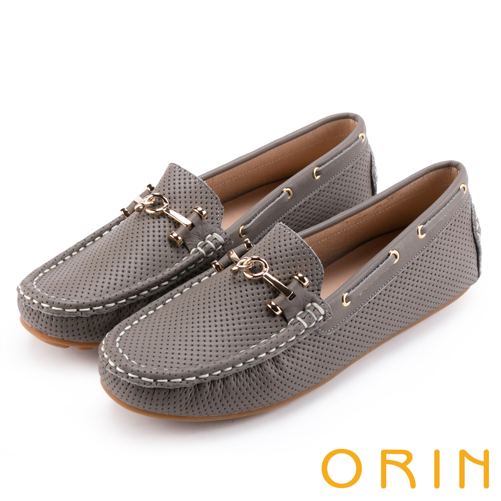 ORIN 牛皮金屬飾釦洞洞 女 平底鞋 可可灰