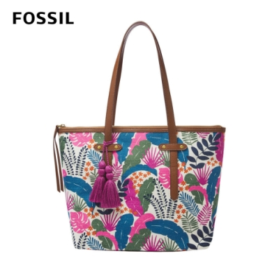 FOSSIL FELICITY 熱帶花卉流蘇飾品托特包 SHB2612142