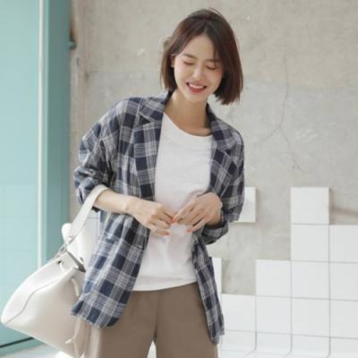 La Belleza棉麻格紋雙口袋單釦一粒釦翻領麻紗西裝外套