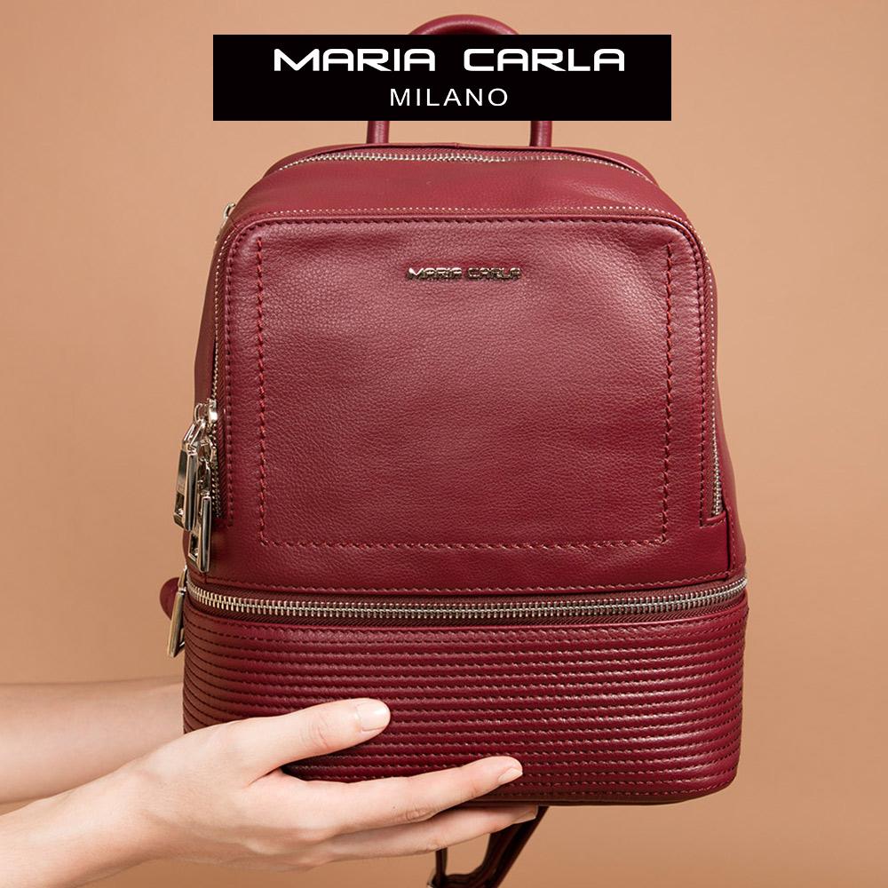 Maria Carla 手提後背包-牛皮硬挺方包_日光步調、清新朝氣系列(胭脂紅)