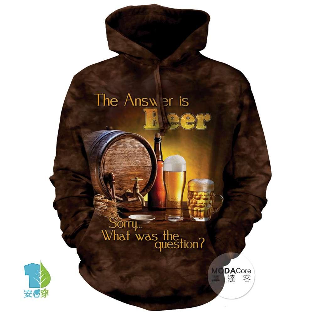 摩達客 美國The Mountain 啤酒是答案 中性套頭長袖連帽T恤