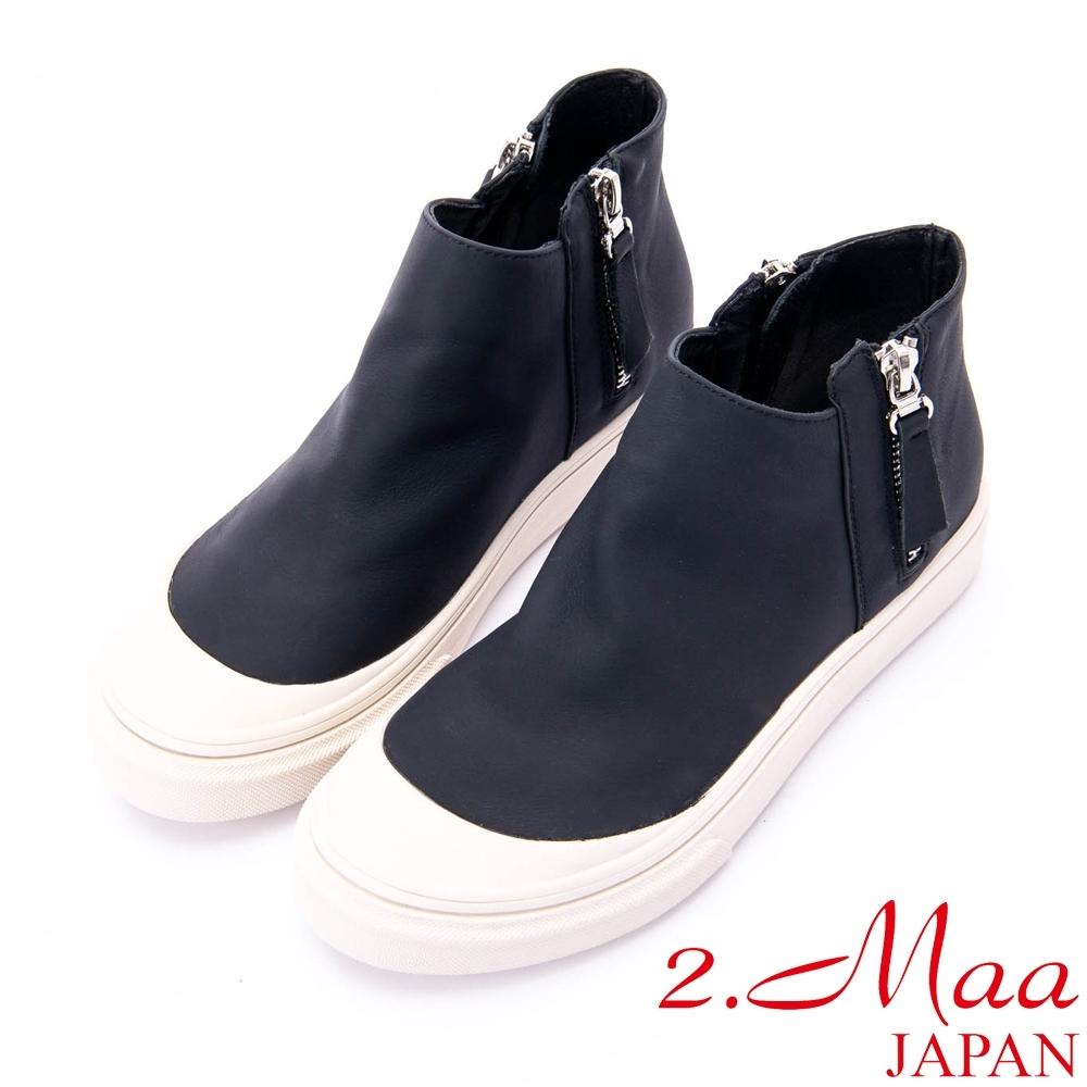 2.Maa 時尚設計師拉鍊牛皮休閒鞋 - 黑白