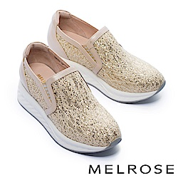 休閒鞋 MELROSE 華麗色調金蔥蕾絲布厚底休閒鞋-金