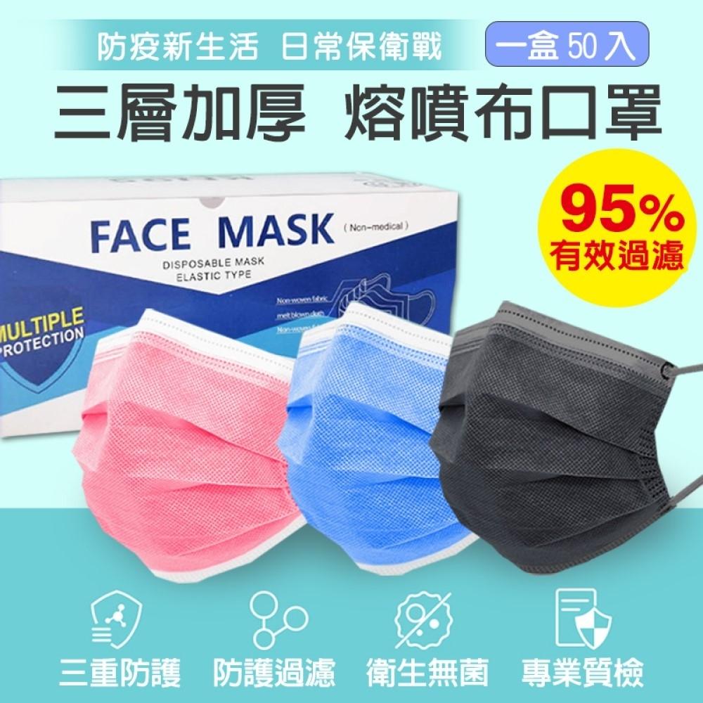 成人三層熔噴布加厚口罩(50片/1盒)