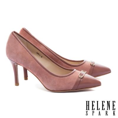 高跟鞋 HELENE SPARK 異材質拼接金屬鑽釦羊皮尖頭高跟鞋-粉