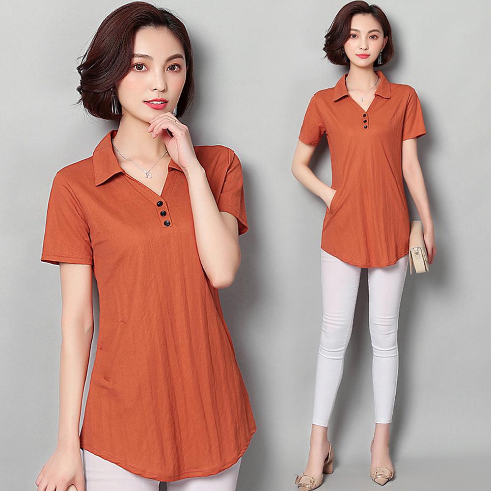 ALLK 襯衫領鈕釦長版上衣 桔色(尺寸M-XXL)