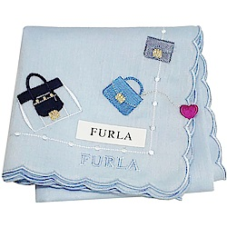FURLA 經典刺繡品牌包包圖騰字母LOGO荷葉邊帕領巾(水藍色)
