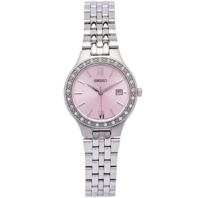 SEIKO 晶鑽銀色系女性手錶(SUR765P1)-粉色面X銀色/28mm