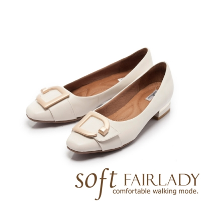 FAIR LADY Soft芯太軟 金屬飾扣拼帶方頭低跟鞋 奶油白