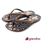 Grendha 歐洲小花園人字帶夾腳鞋-黑色