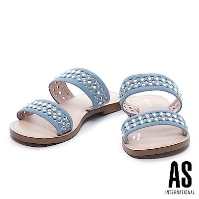拖鞋 AS 鏤空晶鑽點綴羊麂皮低跟拖鞋-藍