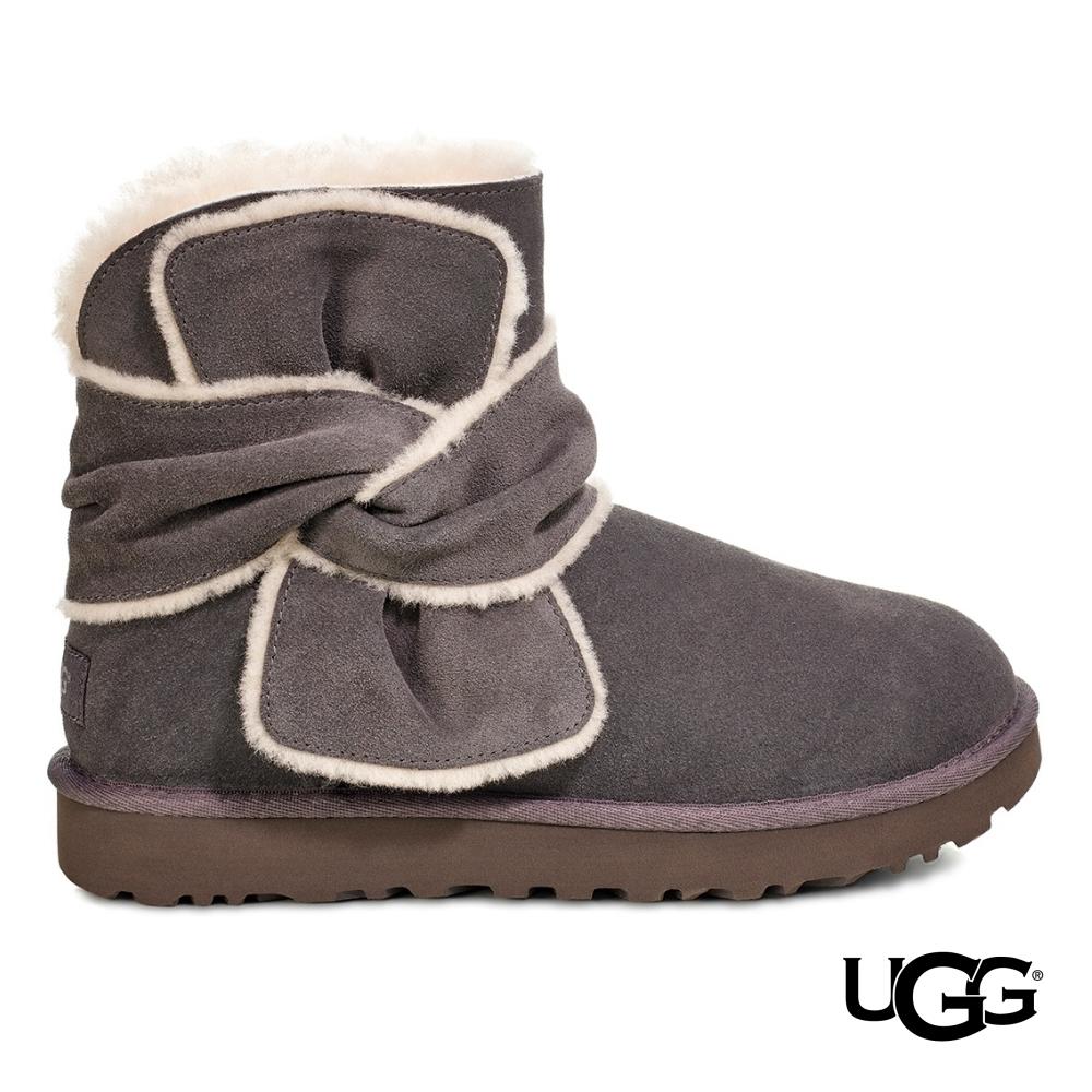UGG雪靴 Spill Seam 迷你毛飾邊綁結短靴