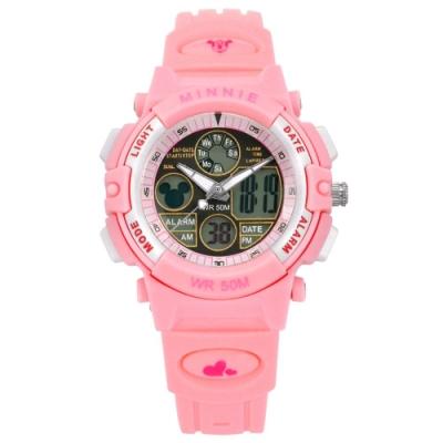 Disney 迪士尼 米奇系列 兩地時間 兒童卡通 計時電子雙顯橡膠手錶-粉色/36mm