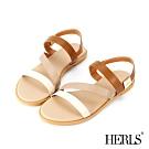 HERLS 簡約時尚 多帶金屬方扣平底露趾涼鞋-米棕色系