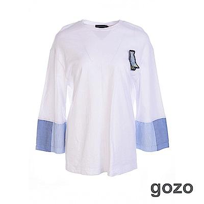gozo 小鳥別針寬袖拼接造型上衣(二色)