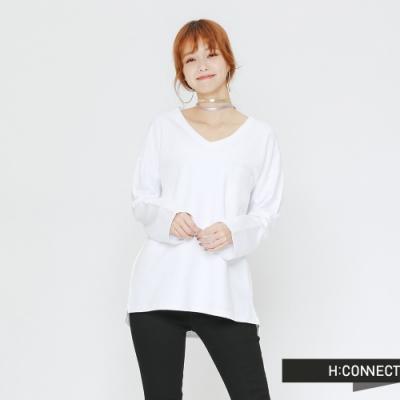 H:CONNECT 韓國品牌 女裝 - 小V領舒適棉質上衣-白(快)