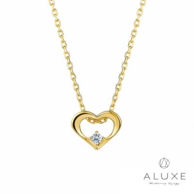 ALUXE亞立詩 HEART系列 18K黃金鑽石項鍊