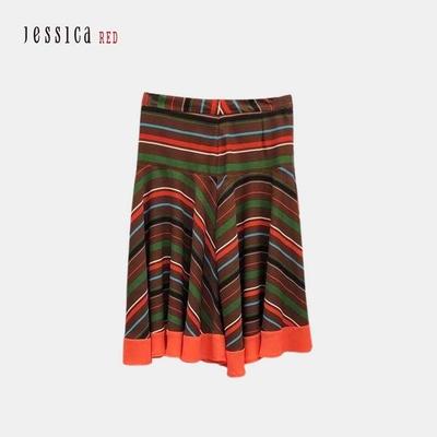 JESSICA RED- 百搭撞色彩條橙棕半身裙