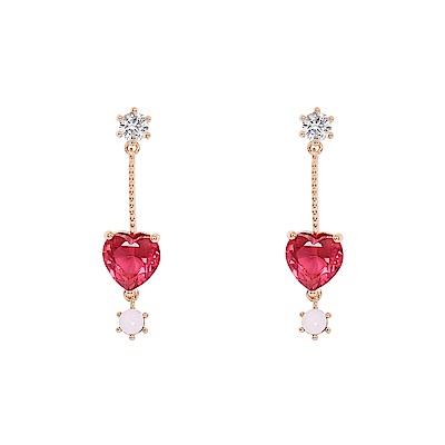 Prisme美國時尚飾品 心心相印水鑽 金色耳環 耳針式