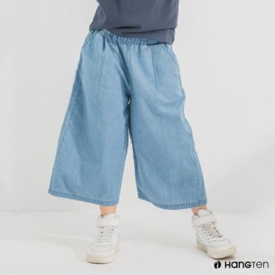 Hang Ten-女童-WIDE LEG FIT鬆緊腰頭八分丹寧褲-淺藍色