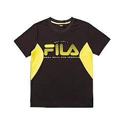 FILA KIDS 童吸濕排汗短袖上衣-黑色 1TET-4902-BK