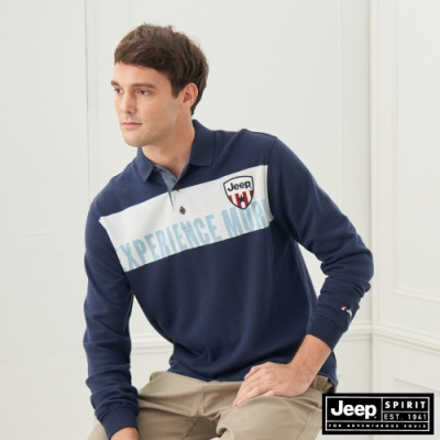 Jeep 男裝 率性拼接設計長袖POLO衫-海軍藍