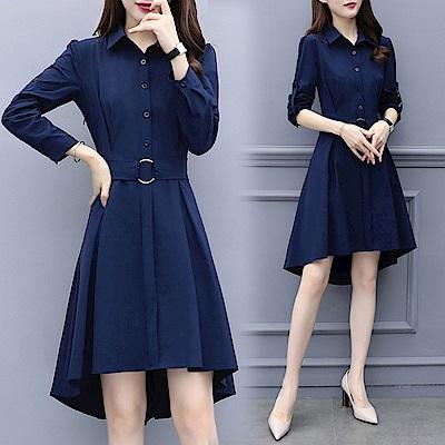 純色前短後長襯衫領連身裙XL-5XL(共二色)-KVOLL