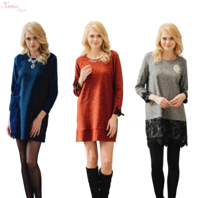 CorpoX  & Xmiss 花呢洋裝三件組(灰/紅/藍)