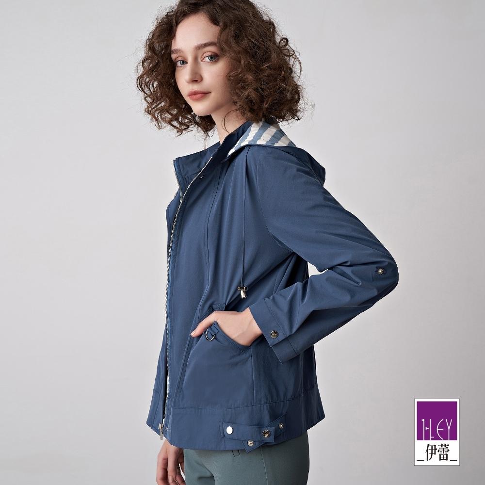ILEY伊蕾 可拆式連帽短版風衣外套(藍)