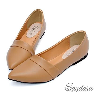 山打努SANDARU-尖頭鞋 壓摺美型素面平底鞋-可可