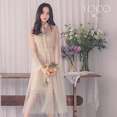 東京著衣-yoco 仙氣飄飄襯衫領排釦蕾絲背心兩件式洋裝(共二色)