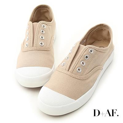 D+AF 活力自在.奶油頭無綁帶休閒帆布鞋*杏